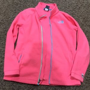 Girls coral north face soft zip up jacket